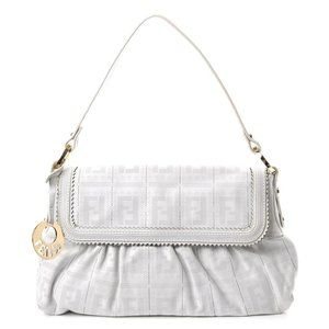 Fendi Chef White Perforated Leather Charm Satchel
